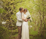 Vintage woodland wedding portrait