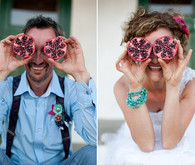 Fun Pomegranate Bride and Groom Portrait