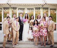 Red, Pink, and Neutral Stripes and Florals Bridal Party