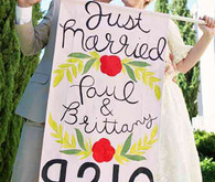 Hand painted just married banner