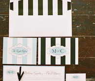 Black and White Stripes and Tiffany Blue Invitations