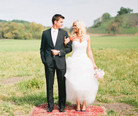 Bride and Groom Field Portrait on Rug