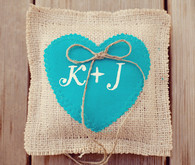 Aqua Heart and Initials Ring Pillow