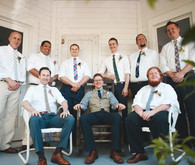 Rustic Wedding Groomsmen Attire and Front Porch Portrait