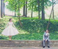 Park Bride and Groom Portrait