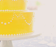 Yellow Cake with White Scallop Detail