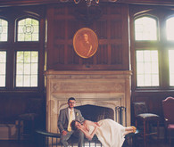 Library Bride and Groom Portrait