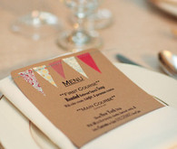 Kraft paper with colored bunting menu