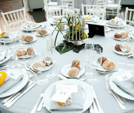 Dusty blue reception decor