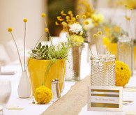 Yellow themed reception decor