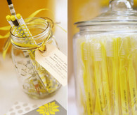 Yellow toothbrush and pencil favors