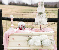 Blush inspired cake table