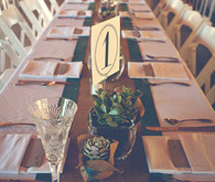 Lake-front long wooden tablescape