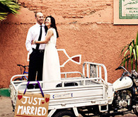 Just Married sign couple portrait