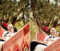 Bride and groom on hammock portrait