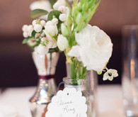 DIY white and green floral centerpiece detail
