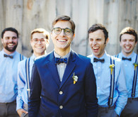Blue themed grooms and groomsmen