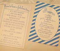 Blue and white striped dinner menu