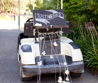 Just married sign on back of a golf cart