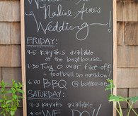 Chalkboard wedding weekend schedule