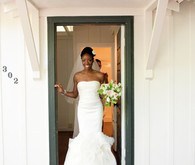 Gorgeous bride wearing simple vera wang dress