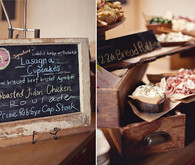 Heirloom chalkboard menu and food