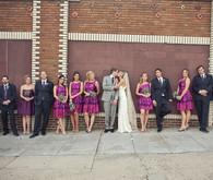 Brick wall bridal party portrait
