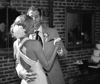Black and white intimate first dance portrait