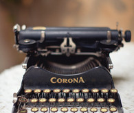 Vintage black typewriter reception decoration