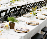 Long tables with gold plating reception