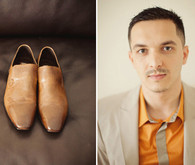 Orange and brown dress shirt and shoes