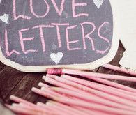 chalkboard love letters and pencils detail