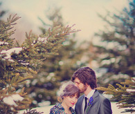 Winter bride's colorful jacket