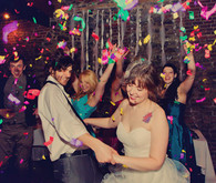 Colorful confetti on dance floor