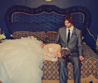 Vintage bed and couple