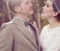 Rustic bride and groom portrait detail