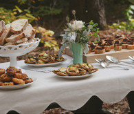 Handmade vermont wedding dinner spread