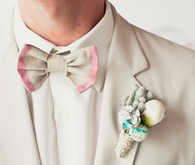 Pink and ivory bowtie