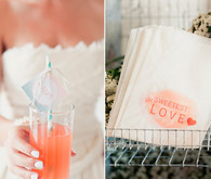 Orange stamped dessert bags and drink