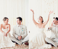 Confetti groom and bride portraits