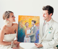 Artistic groom and bride painting