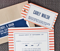 Orange, white & blue striped invitation cards