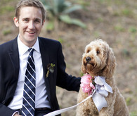 Groom with cute dressed up dog