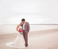 Beach groom and bride portrait