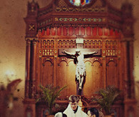 Groom and bride portrait in church