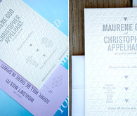 Modern letterpress wedding invite