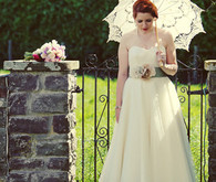 Vintage wedding parasol and dress