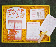 Colorful polka dot wedding invitations