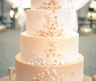 White frosted confetti wedding cake