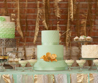 Green and gold dessert table